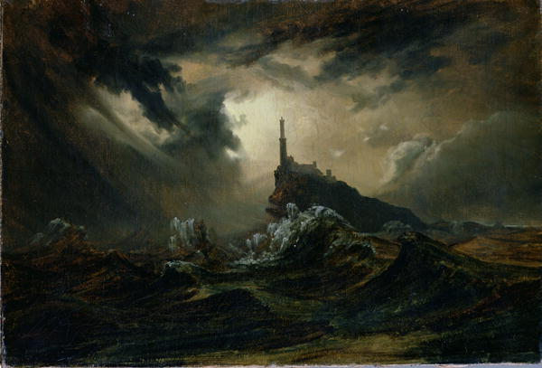 Stormy-sea-with-Lighthouse-xx-Karl-Blechen